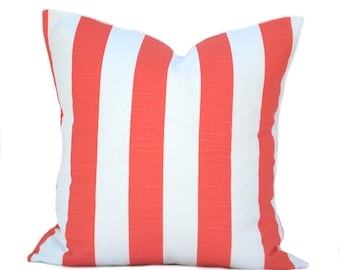 One Striped pillow cover, cushion, decorative throw pillow, decorative pillow, accent pillow, pillow case, Salmon Throw Pillow, Coral Pillow