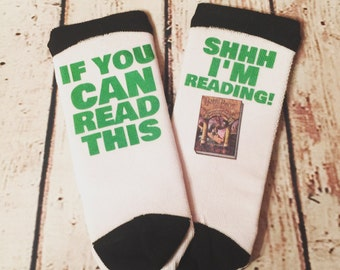 If You Can Read This... Shh I'm Reading Low Cut Socks