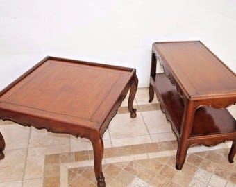 Coffee Cocktail Table And Sofa Side Table Matching Two Piece Set By Baker fine furniture