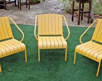 Very Cool Retro Three piece Low chair Patio Chair Set wide iron seat and back mini lounge Insured Safe Nationwide shipping available