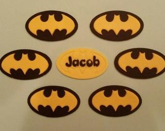 Edible batman cupcake toppers