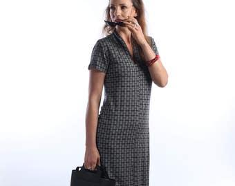 Summer dress -Black & white - tunic tops - Womens Tunic dress - Printed  dress - Summer Office dress - day dress