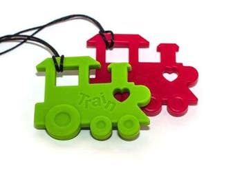 Train, chewlery, fidget necklace textured chewable,  textured pendant,  necklace, great for teething, autism, anxiety, ADHD, add, apraxia