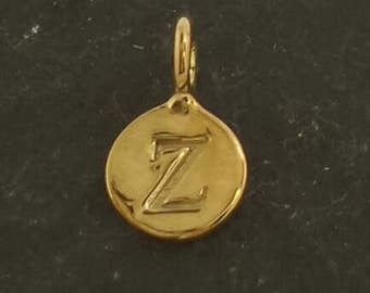 Gold on sterling silver round letter charm z, gold initial z charm,  stamped gold letter charm  ,  gold vermeil initial charm
