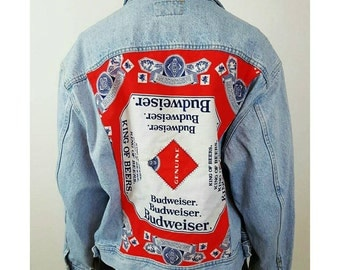 90s Denim BUDWEISER Backpatch Blue Jean Jacket - XL Upcycled Vtg Coat with 80's Back Patch Mens Womens Grunge Fall Winter Fashion Outerwear