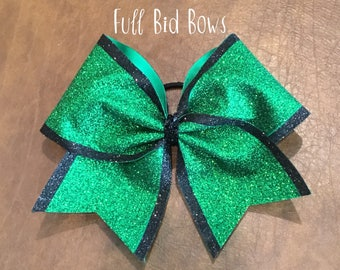 Cheer Bow - Kelly Green Glitter with Black Glitter Edge