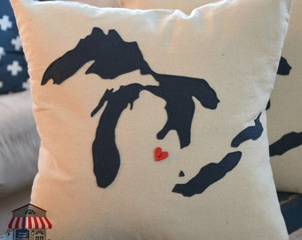 Great Lakes Michigan Pillow - 18 x 18 cover only - Navy - Michigan Decor  - Michigan Pillow - Accent Pillows - Decorative Pillows - Michigan