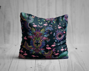 Purple flamingo cushion cover- butterfly cushion- butterfly flamingo cushion- velvet cushion- purple cushion - butterflies cushion - 25% off