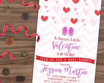 Valentine Baby Shower Invitation - Heart Chevron Diaper Party - Sprinkle - Our Sweet Little - Pink and Red - Printable or Printed - 4x6