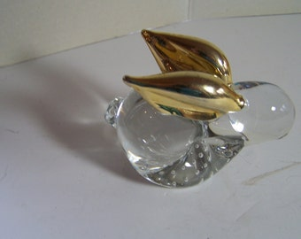 Rabbit Paperweight with Gold Ears