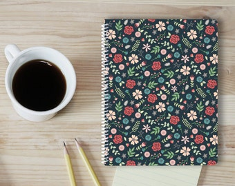 Floral pattern small spiral notebook