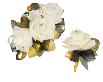 2pc Set -Wrist corsage and Boutonniere-Ivory, Gold,and Black artificial flowers