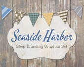Rustic Nautical Shop Branding Banners, Avatar Icons, Business Card, Logo Label + More - 12 Premade Graphics Files - SEASIDE HARBOR