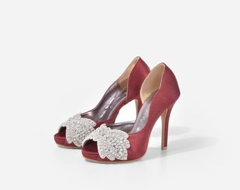 Obsession Marron Custom Made Heels, Maroon Satin D'Orsay Heels, Satin Peep Toe Pumps, Crystal Satin Heels