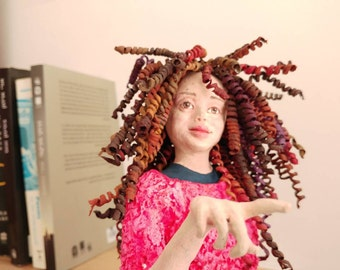 Paper mache sculpture, papier mache art, shelf decor, wall sculpture, realistic curly girl