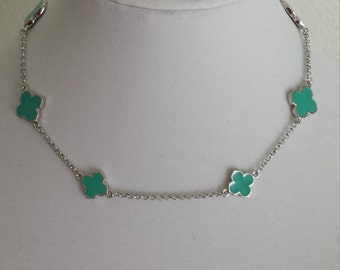 "Silver 16"" Long  Clover Necklaces,turquoise enamel color clover,four leaves,Valentine's gift,Mother's day gift"