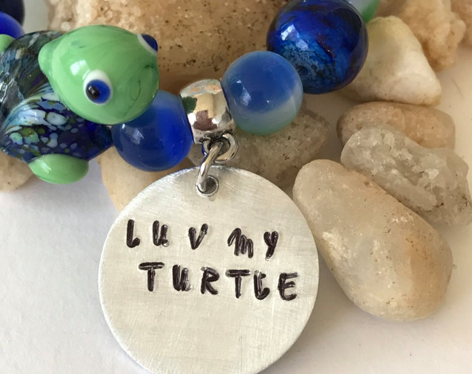 Pet loss~Luv my turtle Memorial bracelet ~ Rainbow Bridge