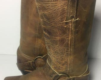 Frye 77300 Harness Brown Leather Motorcycle Boot 12r Women's Size 7.5