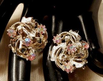 Vintage Pink AB  Rhinestone Floral Earrings
