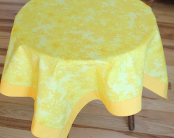 Table Topper, Yellow Table Cloth, Overlay, Square, Tablecloth, Yellow and Gold Floral, Table Runner