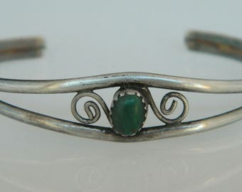 Native American Southwestern Green Turquoise Sterling Silver Cuff Bracelet SALE