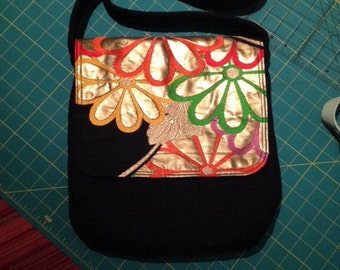 quilted obi purse silk and cotton