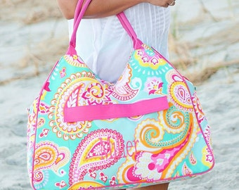 Large Beach Bag Tote Summer Paisley Beach bag Monogrammed Personalized Pool