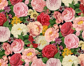 Pretty Peony Flowers 4901 Cotton Fabric by Elizabeth's Studio! [Choose Your Cut Size]