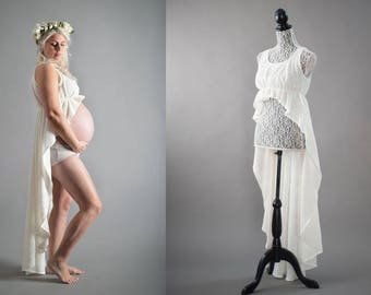 Knit lace over dress. Maternity gown, boudoir. One of a kind. Couture.
