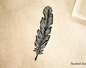 Feather Rubber Stamp - 2 x 2 inches -  Custom Ex Libris Stamp
