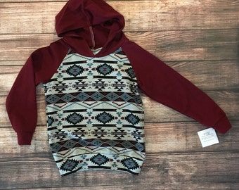 9-12 Months - Aztec French Terry Hoodie - Burgundy - Ready to Ship