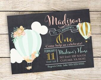 Hot Air Balloon Birthday Party Invitation, Gold Hot Air Balloon, 5x7 or 4x6, Balloon Birthday Invitation