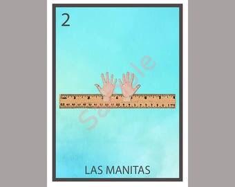 Las Manitas - Political Loteria Card - Tiny Hands - Anti-Trump Greeting Card Art - Donation to ACLU