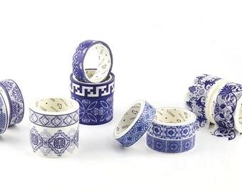 Set of 12 rolls China Style Blue and white porcelain Design Washi Masking Tapes