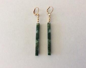 Lovely Long Moss Agate Earrings