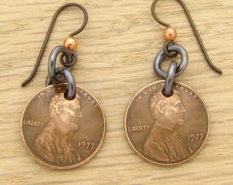 For 40th: 1977 Dark Copper US Penny Earrings 40th Birthday or 40th Anniversary Gift Coin Jewelry