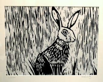Wild Hare Woodcut Print