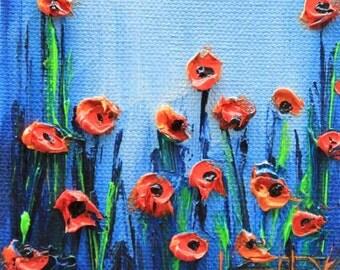 Floral Painting, Palette Knife Art, Flower Decor, Floral Art, Poppies, Red Poppies, Textured Art, Original Oil, Award Winning Artist