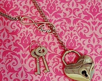 Choke Chain Infinity Love Lock Stainless Collar Permanent Day Heart Silver BDSM