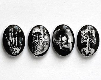 Set of 4 pcs handmade anatomical glass cabochons - 25x18mm - black and white cabochons