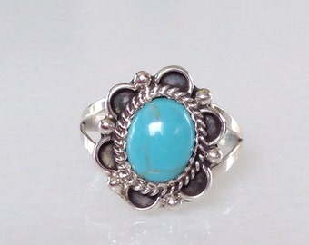 Native American  Navajo Turquoise Sterling Silver Ring Size 8.5