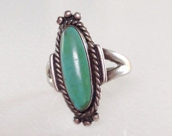 Native American Old Bell Trading Navajo Turquoise Sterling Silver Ring Size 7 1970's