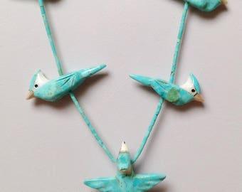 "Southwestern Hand Carved Turquoise, Jet, Alabaster Five Bird Fetish Necklace 23"" - Matt Mitchell"