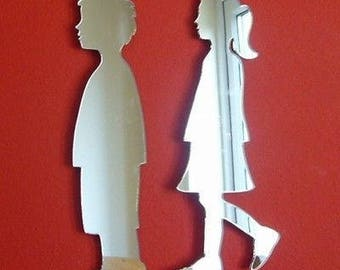 Boy and Girl Shaped Mirrors - Several Sizes