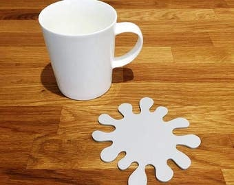 Splash Shaped Light Grey Matt Finish Acrylic Coasters