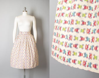 Vintage 1950s 1960s Skirt | 50s 60s Novelty Print Stagecoach Cars Cotton Full Skirt (medium)