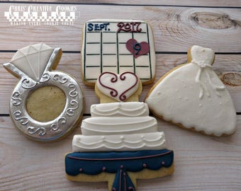 Wedding Shower, Save the Date, Wedding dress, Diamond Ring,  One dozen (12) Custom Decorated cookies