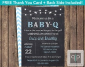 INSTANT DOWNLOAD Baby-Q Invitation, Editable Boy Baby-Q Invitation, Printable Boy BabyQ Invitation, BBQ Baby Shower Invite, Boy Babyq invite