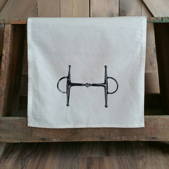 Tea Towel- Full Cheek Snaffle Bit- Unbleached Cotton Equestrian Tea Towel