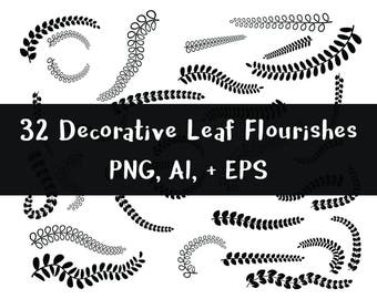 Flourish Clipart- 32 Leaf Flourishes, Floral Swirl Clipart, Fern Fronds Clipart, Wedding Clip Art, Page Dividers, Vector, PNG, AI, + EPS